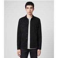AllSaints Men's Cotton Slim Fit Lancer Shirt, Black, Size: S