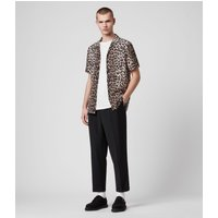 AllSaints Men's Leopard Print Lightweight Leppo Short Sleeve Shirt, Brown and Black, Size: S