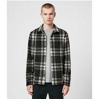 AllSaints Men's Check Slim Fit Grayson Shirt, Black and White, Size: XXL