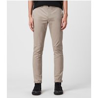 AllSaints Men's Cotton Lightweight Brown Park Chinos, Natural, Size: 28