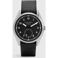 AllSaints Untitled III Stainless Steel and Black Leather Watch