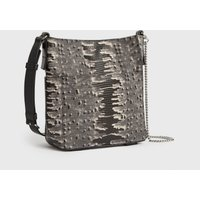 AllSaints Women's Lightweight Adelina Small North South Leather Tote Bag, Grey