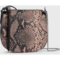 AllSaints Women's Snake Print Lightweight Ely Small Round Leather Crossbody Bag, Pink