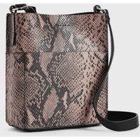 AllSaints Women's Snake Print Lightweight Adelina Small North South Leather Tote Bag, Pink
