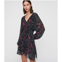 AllSaints Women's Floral Nichola Rosalyn Dress, Black and Red, Size: L