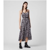 AllSaints Women's Cotton Leopard Print Essie Ambient Dress, Grey and Black, Size: XS