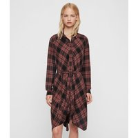 AllSaints Women's Check Tala Dress, Red and Black, Size: S