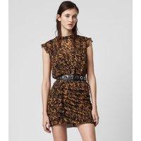 AllSaints Women's Slim Fit Hali Ambient Dress, Brown, Size: 8