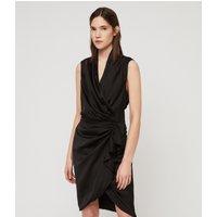AllSaints Women's Slim Fit Cancity Dress, Black, Size: 8