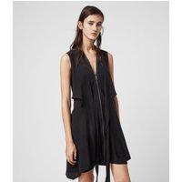 AllSaints Women's Silk Lightweight Jayda Dress, Black, Size: L