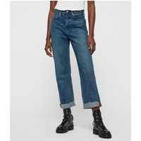 AllSaints Women's Cotton Mari High-Rise Cropped Boyfriend Jeans, Blue, Size: 29