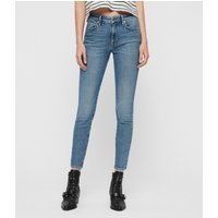 AllSaints Roxanne Cropped Ankle High-Rise Skinny Jeans, Mid Indigo Blue