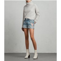 AllSaints Birds Pam Mid-Rise Denim Shorts