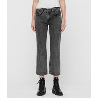 AllSaints Ava Studded Hem Straight High-Rise Jeans, Washed Black