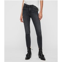 AllSaints Roxanne Cropped High-Rise Skinny Jean, Washed Black
