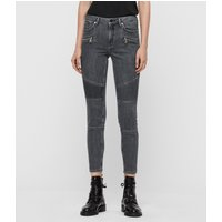 AllSaints Grace Biker Cropped Mid-Rise Skinny Jeans, Washed Grey