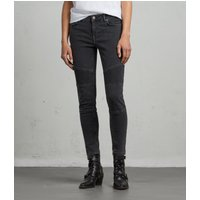 AllSaints Biker Ankle Skinny Low-Rise Jeans, Washed Black