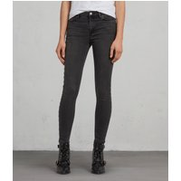 AllSaints Grace Studded Ankle Skinny Mid-Rise Jeans, Washed Black