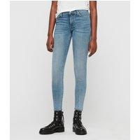 AllSaints Grace Dart Ankle Skinny Mid-Rise Jeans, Light Indigo Blue