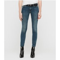 AllSaints Mast Skinny Low-Rise Jeans, Washed Indigo Blue