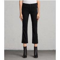AllSaints Heidi Mid-Rise Flared Stripe Jeans, Black
