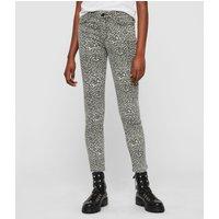 AllSaints Grace Ankle Skinny Mid-Rise Jeans, Leopard Print