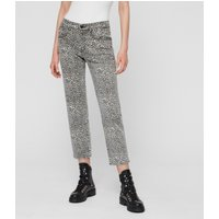 AllSaints Ava Straight High-Rise Jeans, Leopard Print