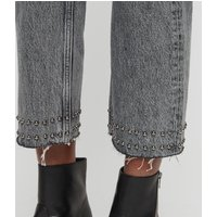AllSaints Ava Straight Stud Hem High-Rise Jeans, Acid Black