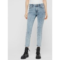 AllSaints Grace Cropped Skinny Mid-Rise Jeans, Acid Washed Indigo