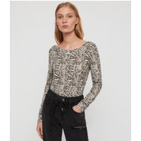 AllSaints Women's Cotton Snake Print Essential Misra Bodysuit, Beige and Black, Size: L