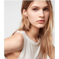 AllSaints Women's Brass Bijou Gold-Tone Smokey Quatyz Ear Cuff Earring Set, Gold