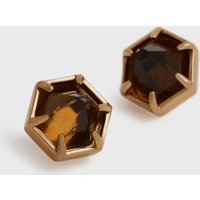 AllSaints Kailey Gold-Tone Smokey Quartz Stud Earrings