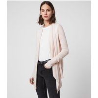 AllSaints Women's Merino Wool Lightweight Drina Ribbed Cardigan, Pink, Size: S