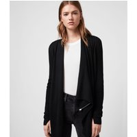 AllSaints Women's Merino Wool Lightweight Drina Ribbed Cardigan, Black, Size: L