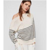 AllSaints Women's Cotton Stripe Lightweight Ives Breton Jumper, White and Black, Size: M