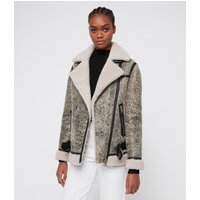 AllSaints Women's Sheepskin Rei Shearling Biker Jacket, Grey, White and Black, Size: M