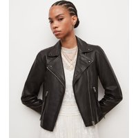 AllSaints Women's Leather Slim Fit Dalby Biker Jacket, Black, Size: 10