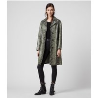 AllSaints Women's Leather Lamb Lightweight Oba Mac Coat, Green and Black, Size: 8