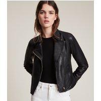 AllSaints Women's Leather Lightweight Vela Biker Jacket, Black, Size: 8