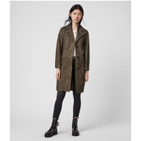 AllSaints Women's Lamb Leather Leopard Print Lightweight Leo Suede Mac Coat, Brown, Size: 2