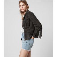 AllSaints Women's Goat Suede Regular Fit Mina Tassel Jacket, Black, Size: 14