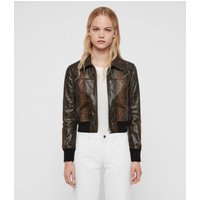 AllSaints Women's Leather Snake Print Pascao Oba Bomber Jacket, Brown and Black, Size: 10