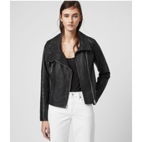 AllSaints Women's Cotton Versatile Bales Leather Biker Jacket, Black, Size: 2