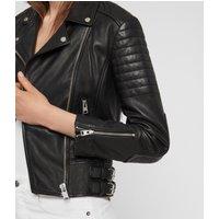 AllSaints Women's Lamb Leather Slim Fit Papin Biker Jacket, Black, Size: 4