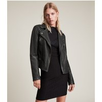 AllSaints Women's Leather Quilted Regular Fit Cargo Biker Jacket, Black and Grey, Size: 2