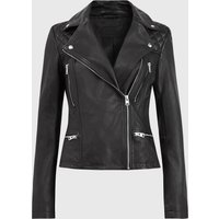 AllSaints Women's Sheep Leather Regular Fit Catch Biker Jacket, Black, Size: 10