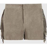 AllSaints Calix Tassel Suede Low-Rise Shorts
