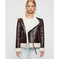AllSaints Women's Elder Shearling Biker Jacket, Brown and White, Size: S