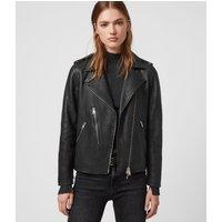 AllSaints Women's Leather Regular Fit Elva Biker Jacket,, Black, Size: 2