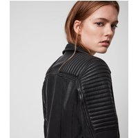 AllSaints Women's Leather Quilted Regular Fit Estella Biker Jacket, Black, Size: 4